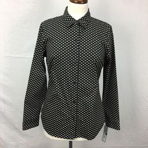 Apt. 9 Black/Cream Print Button Down Top